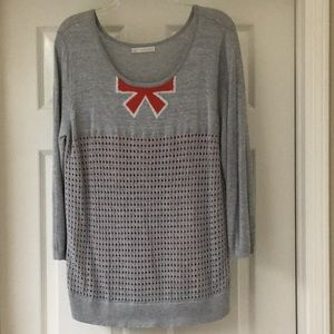 Nordstrom's Hinge brand grey sweater with bow